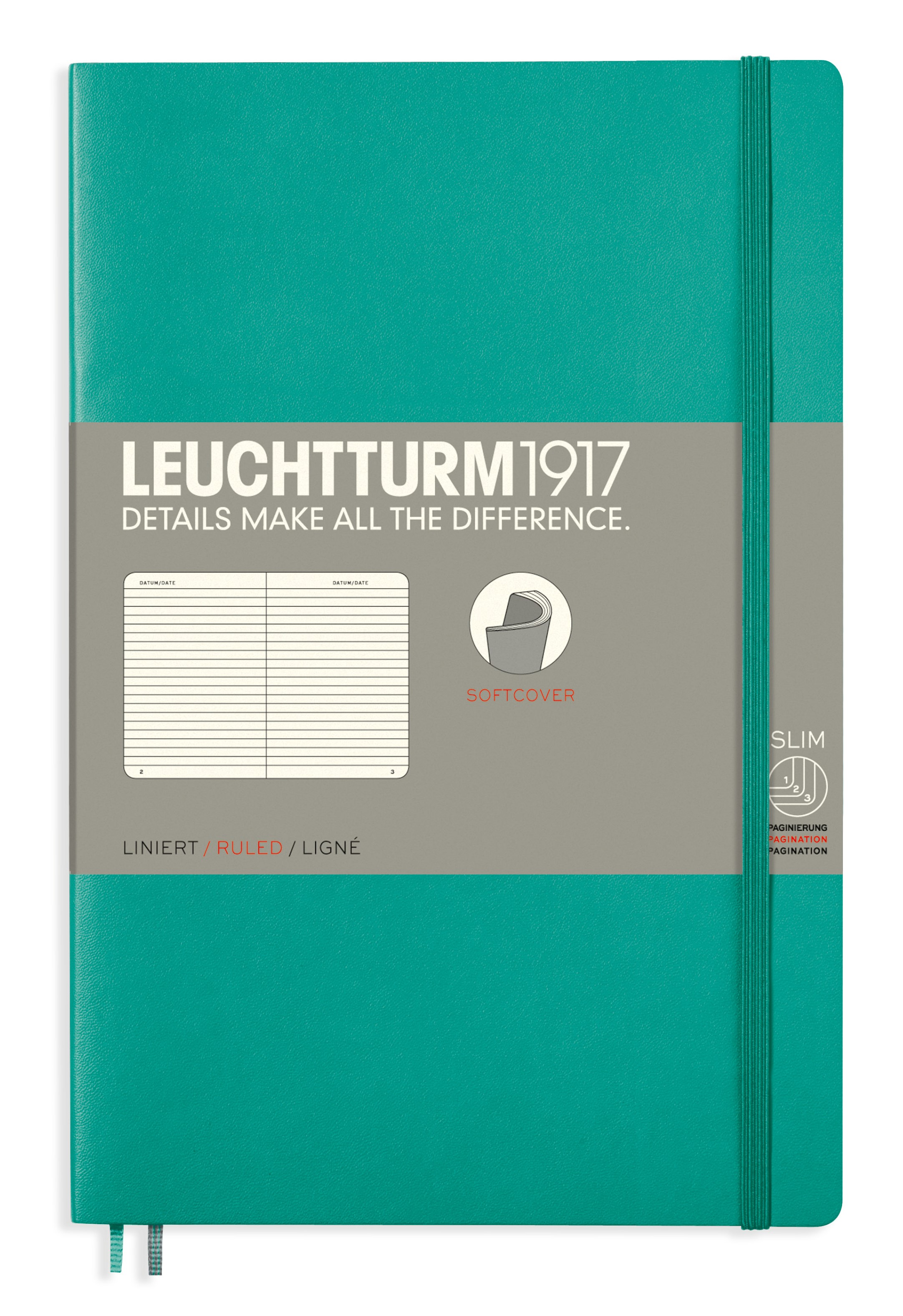 Emerald B6+ Ruled Softcover Notebook
