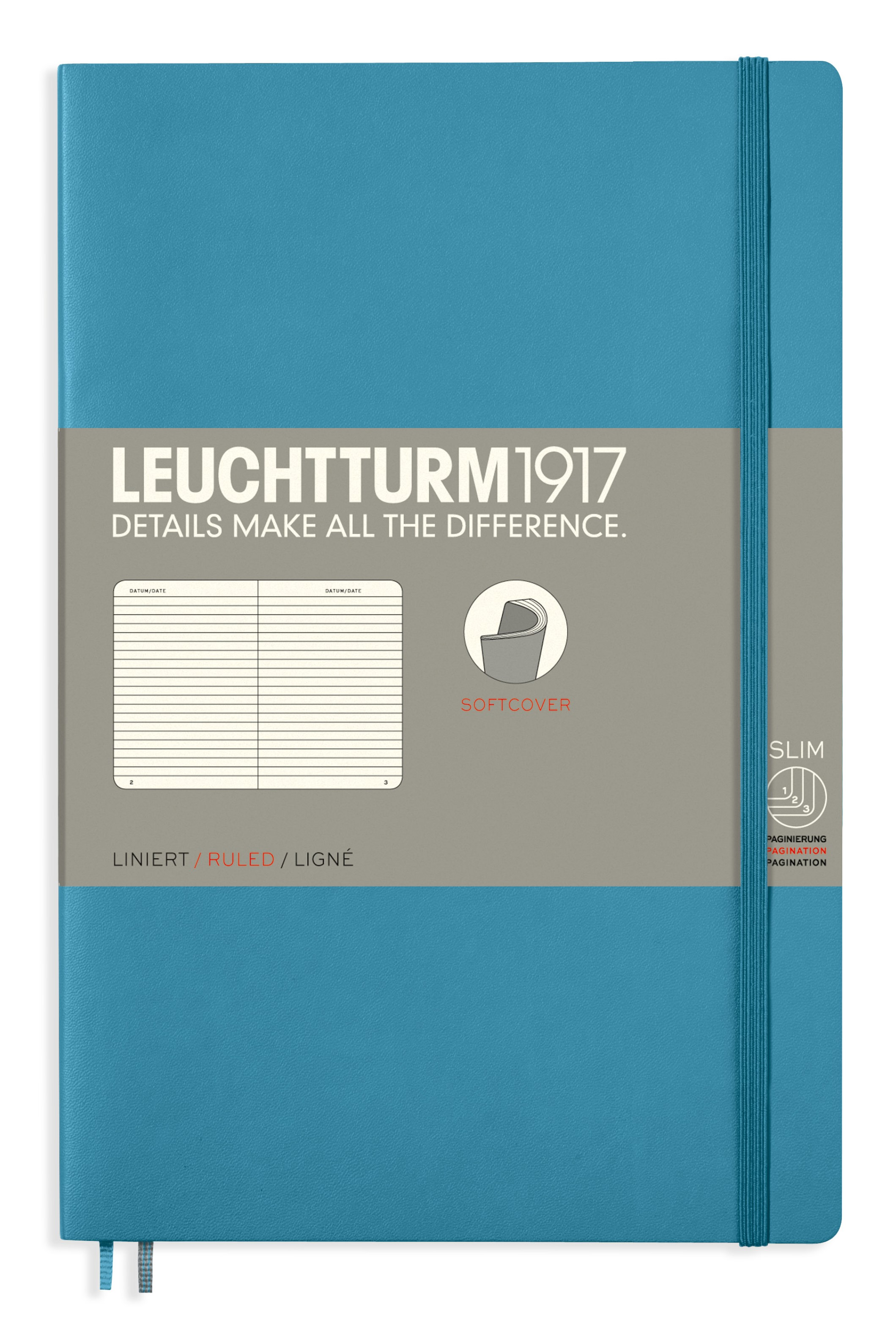 Nordic Blue B6+ Ruled Softcover Notebook