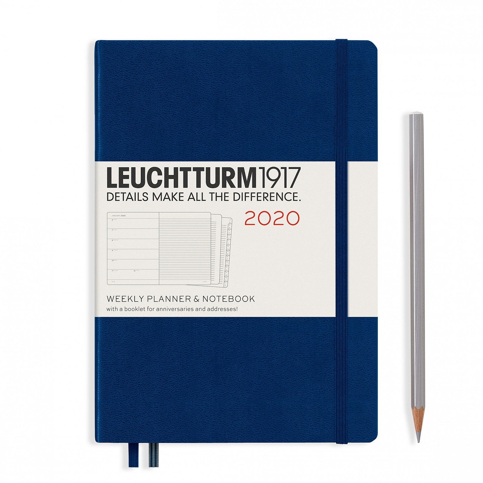 Navy Hardcover Medium 12 Months 2020 Weekly Diary and Notebook