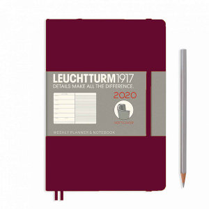 Port Red Softcover Medium 12 Months 2020 Weekly Diary and Notebook