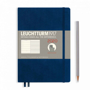 Navy Softcover Medium 12 Months 2020 Weekly Diary and Notebook