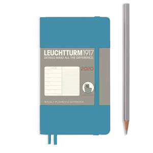 Nordic Blue Softcover Pocket 12 Months 2020 Weekly Diary and Notebook