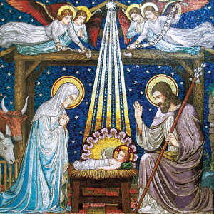 Xmas Charity Manger Mosiac pack of 5 Cards