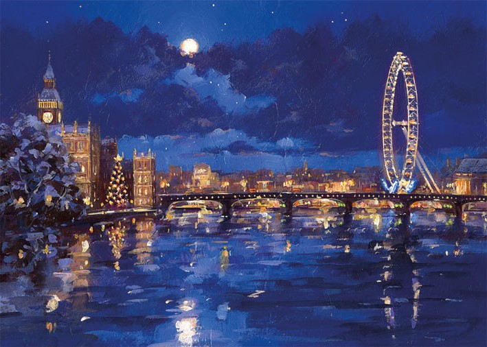 Xmas Charity Thames and London Eye pack of 8 Cards
