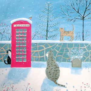 Xmas Charity Village Cats pack of 8 Cards