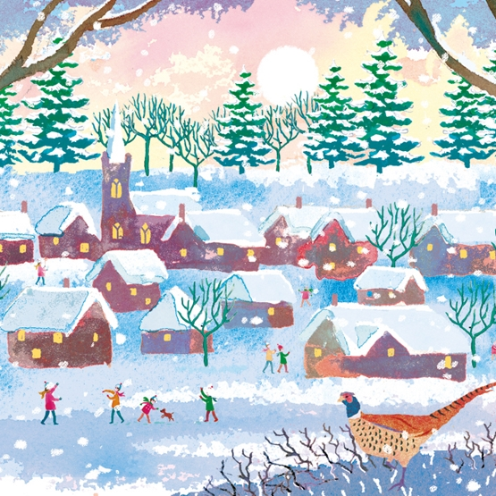 Xmas Charity Snow In Village Pack of 8 Cards