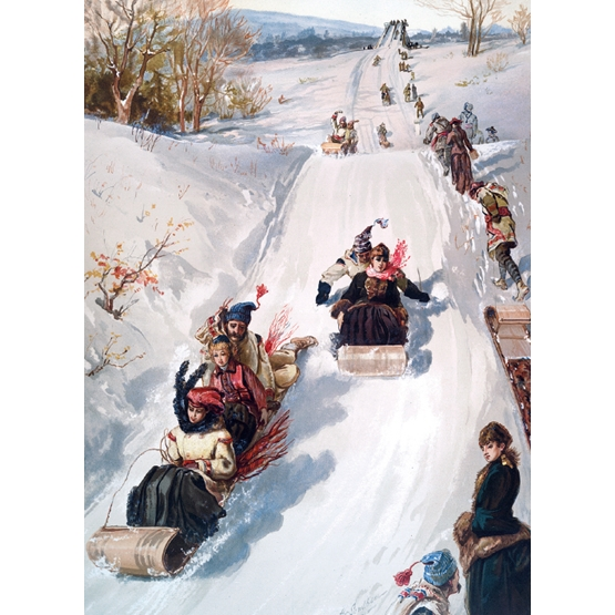 Xmas Charity Sledging Race Rectangle Pack of 8 Cards