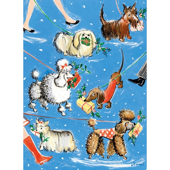 Xmas Charity Puppy Presents Rectangle Pack of 8 Macmillan Cards