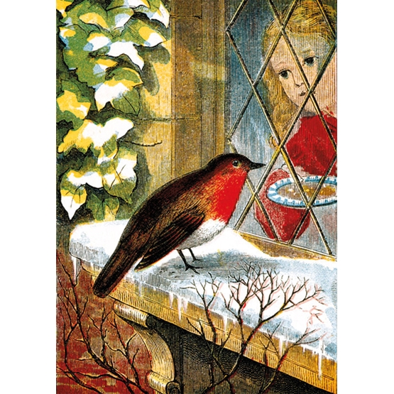 Xmas Charity British Library Robin on Windowsill Rectangle Pack of 8 Cards