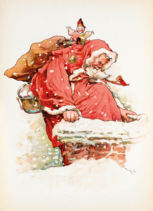 British Library Father Christmas Delivering Presents pack of 8 Cards
