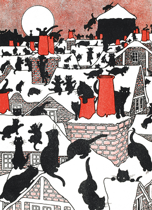 Black Cat Holiday 8 Christmas Card Pack