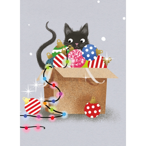 Xmas Charity Festive Feline Rectangle Pack of 8 Cards