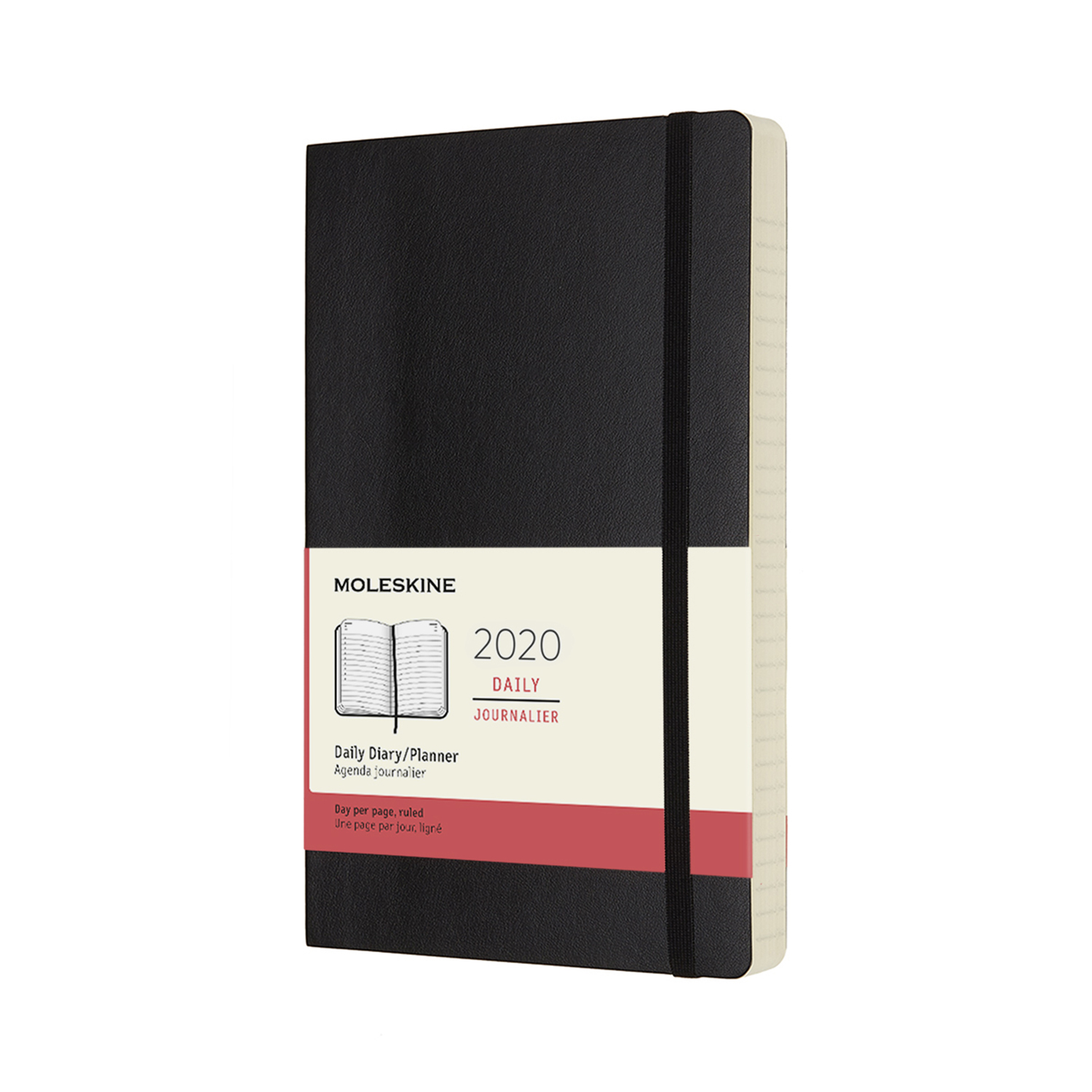 BLACK DAILY LARGE SOFTCOVER 2020 DIARY