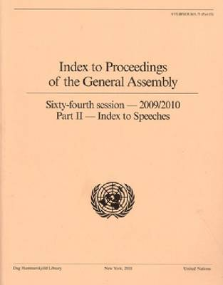 Index to Proceedings of the General Assembly: Part II, Index to Speeches, 2009 to 2010